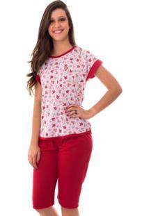 Pijama Vip Lingerie Pescador Malha Vermelho