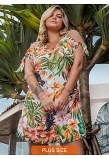 Vestido Plus Size Estampado Secret Glam Bege
