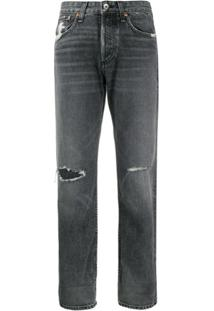 Rag & Bone Calça Jeans Reta Destroyed - Preto