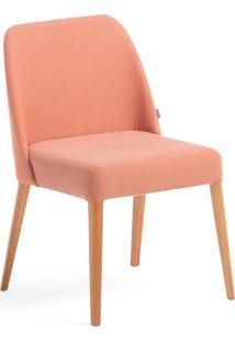 Cadeira Rosini - Base Trigo E Tecido Laranja