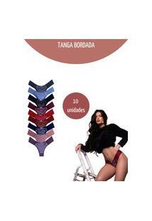 Kit C/10 Calcinha Esquarcio Tanga Bordada Sexy