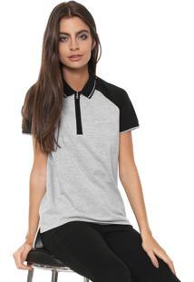 Camisa Polo Calvin Klein Jeans Reta Logo Cinza/Preta