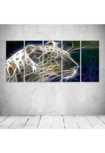 Quadro Decorativo - Leopard Neon Face (4) - Composto De 5 Quadros