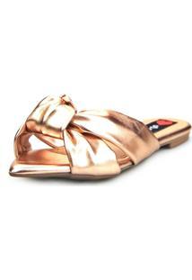 Sandalia Love Shoes Rasteira Bico Folha Nó Metalizadas Bronze