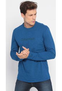 Camiseta Regular Em Flamê- Azul- Calvin Kleincalvin Klein