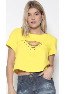 Blusa Cropped Com Recortes Vazados - Amarela - Lanã§Alanã§A Perfume