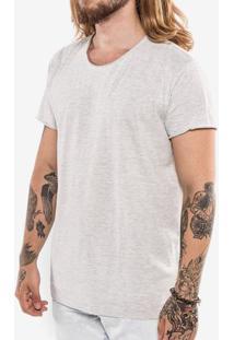 Camiseta Básica Meia Malha Mescla Escuro Gola Rasgada 103407