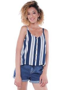 Blusa Alça Listrado Botões Pop Me Feminina - Feminino-Azul