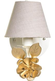 Arandela 1 Lâmpada Flor Dourada Potinho De Mel Dourado