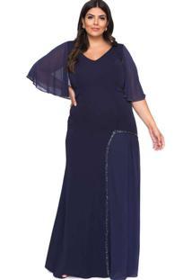 Vestido Almaria Plus Size Pianeta Bordado Azul