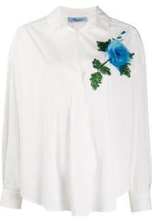 Blumarine Blusa Com Aplicação Floral De Paetês - Branco