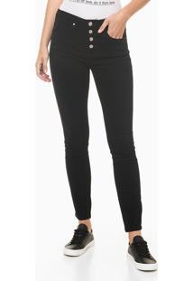 Calça Jeans Feminina Five Pockets Skinny Cintura Alta Preta Calvin Klein - 34