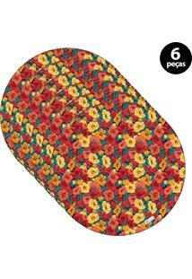 Sousplat Mdecore Floral 32X32Cm Colorido 6Pçs