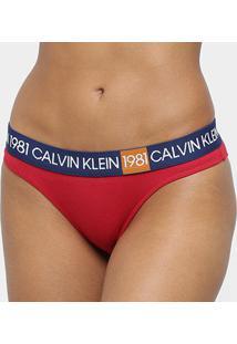 Calcinha Calvin Klein 1981 Tanga - Feminino-Vermelho