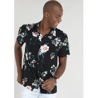 Camisa Masculina Relaxed Estampada Floral Manga Curta Preta 156961f6b10