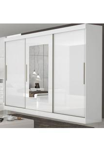 Guarda Roupa Casal Com Espelho 3 Portas 6 Gavetas Montebello Móveis Lopas Branco
