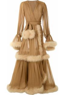Dolce & Gabbana Vestido Longo De Seda - Neutro
