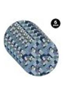 Sousplat Mdecore Abstrato 35X35Cm Azul 6Pçs