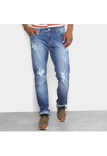 Calça Jeans Reta Forum Rasgos Masculino - Masculino-Azul
