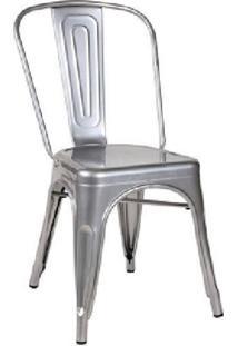Cadeira Em Aço Com Encosto Berlim Siena Móveis Cinza