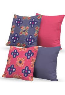 Kit 4 Capas De Almofadas Decorativas Own Mosaico Rosa E Lilás 45X45 - Somente Capa