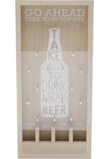 Quadro Madeira/Metal Beer Catcher Bege 19X5X40Cm - Bege - Dafiti