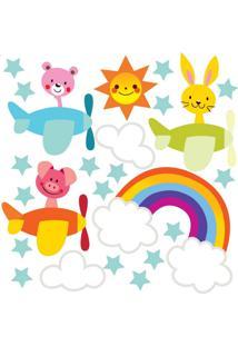 Adesivo De Parede Quartinhos Aviões E Animais Colorido