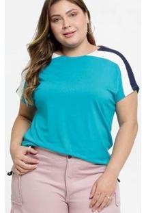 Blusa Marisa Recorte Plus Size Manga Curta Feminina - Feminino-Azul