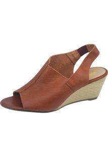 Sandália Anabela S2 Shoes Couro Ferrugem