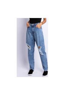 Calça Jeans Mom Lavagem Clara Destroyer Jeans