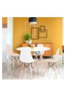 Conjunto De Mesa De Jantar Com 4 Cadeiras Eames Eiffel Premium Branco E Fendi