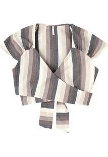 Blusa Cropped Listrada Em Tecido De Algodão Com Amarração
