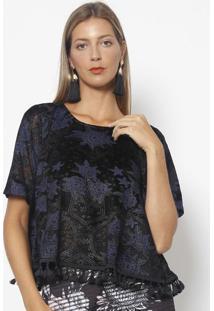 Blusa Floral Em Plush - Preta & Azul Escuromy Favorite Things