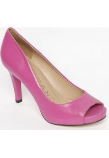 Peep Toe Em Couro Com Recortes Vazados- Pink- Salto:Carrano