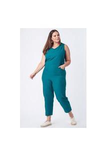 Macacão Liso Almaria Plus Size Munny Decote V Azul