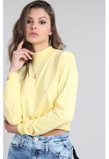 Blusa Feminina Básica Cropped Manga Longa Decote Redondo Amarelo Claro