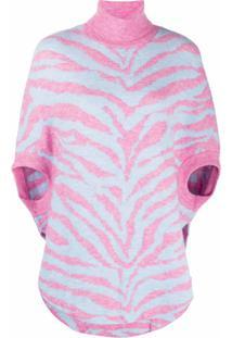 Mm6 Maison Margiela Blusa De Tricô Com Padronagem Animal - Rosa