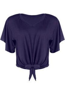 Blusa Otd Cropped Viscolycra Amarrar Básica Indigo - Feminino-Azul+Marinho