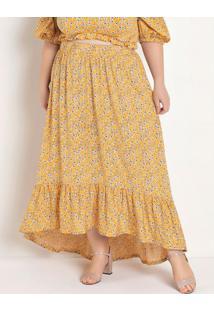 Saia Longa Floral Amarela Plus Size