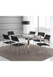 Mesa 346 Com Vidro Incolor Cromada Com 6 Cadeiras 1711 Preta Carraro