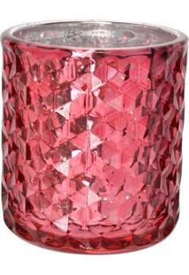 Porta Vela Diamond Metã¡Lico Em Relevo- Rosa- 9Xã˜8Cm