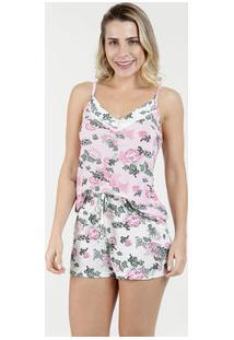 Pijama Feminino Short Doll Floral Alças Finas Marisa