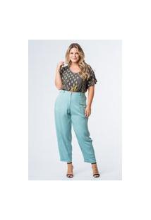 Calça Lisa Slouch Plus Size Azul