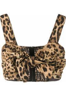 Dolce & Gabbana Blusa Cropped Com Estampa De Leopardo - Neutro