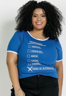 Blusa Azul Com Estampa Contrastante Plus Size