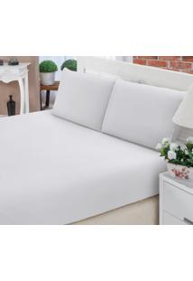 Jogo Cama Queen Size 3Pçs Branco Percal 150F Fassini Têxtil