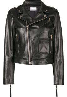 Red Valentino Leather Biker Jacket - Preto