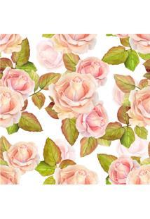 Papel De Parede Adesivo Rosas Fundo Branco