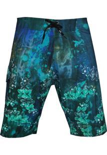 Bermuda Tecido Alkary Floral Azul