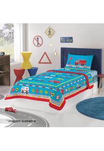 Edredom Truck Solteiro- Azul & Vermelho- 150X210Cm